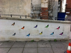 English Heritage Stone wall with Pigeon graffiti