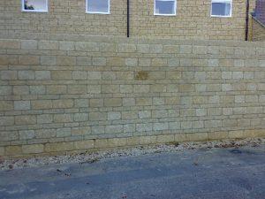 Malmesbury wall after graffiti removed